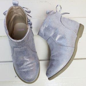 GYMBOREE Silver Bow Short Zipper Boots, 9